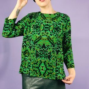 H&M Tops - Green and Black Print Top